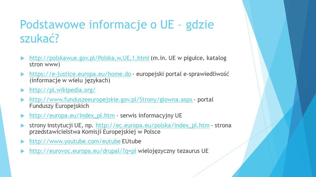 Podstawowe informacje o UE – gdzie szukać