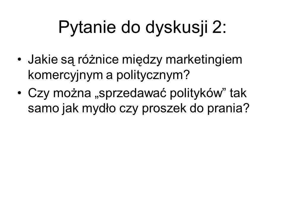 Pytanie do dyskusji 2: Jakie są różnice między marketingiem komercyjnym a politycznym