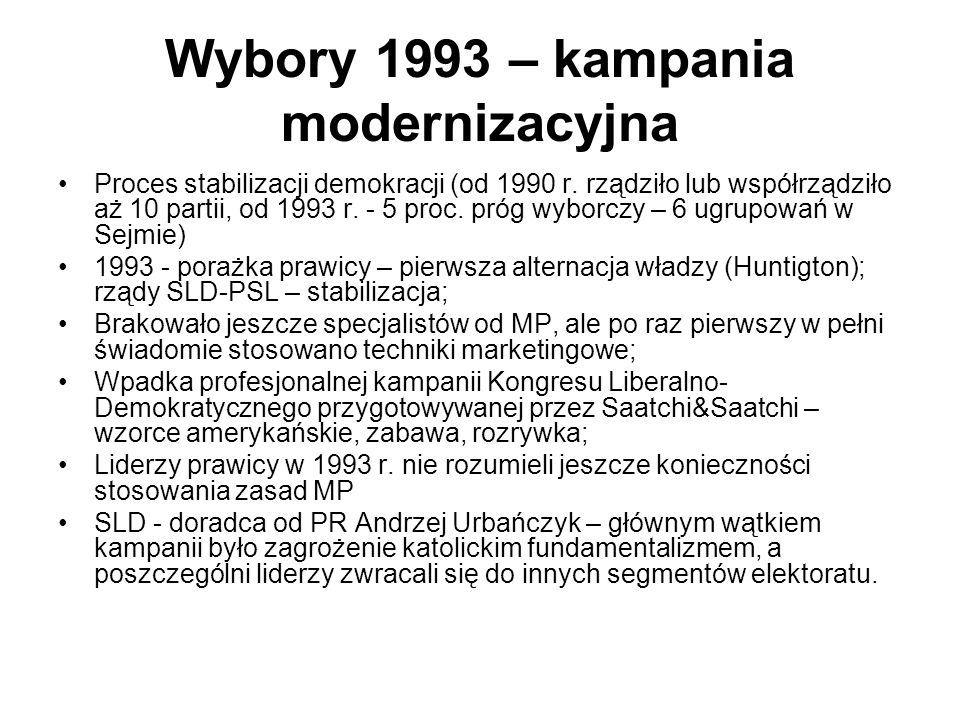 Wybory 1993 – kampania modernizacyjna