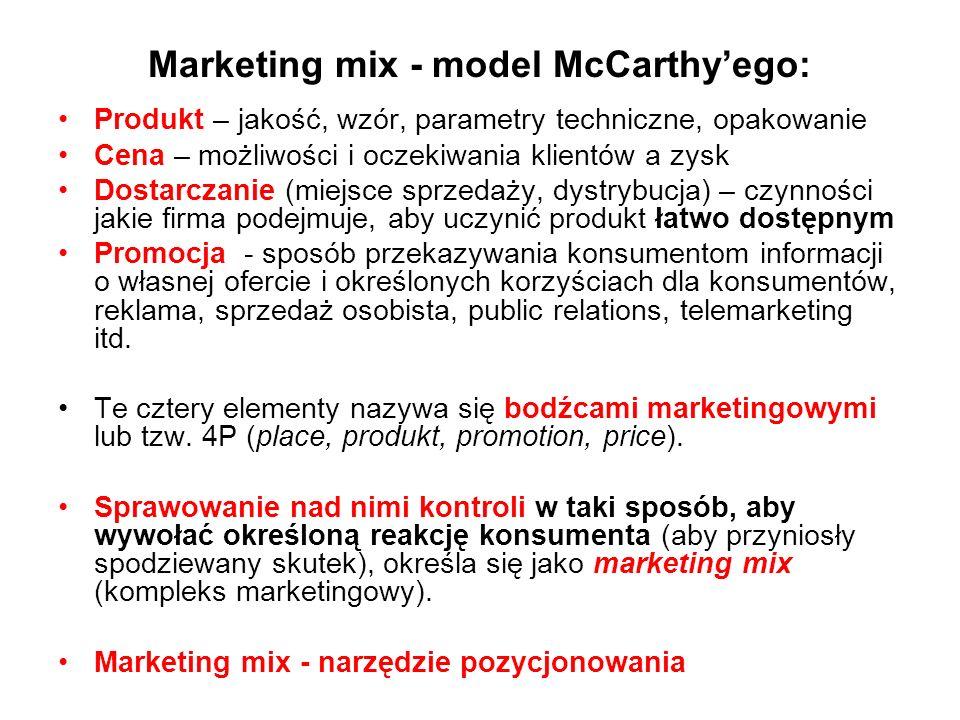 Marketing mix - model McCarthy'ego: