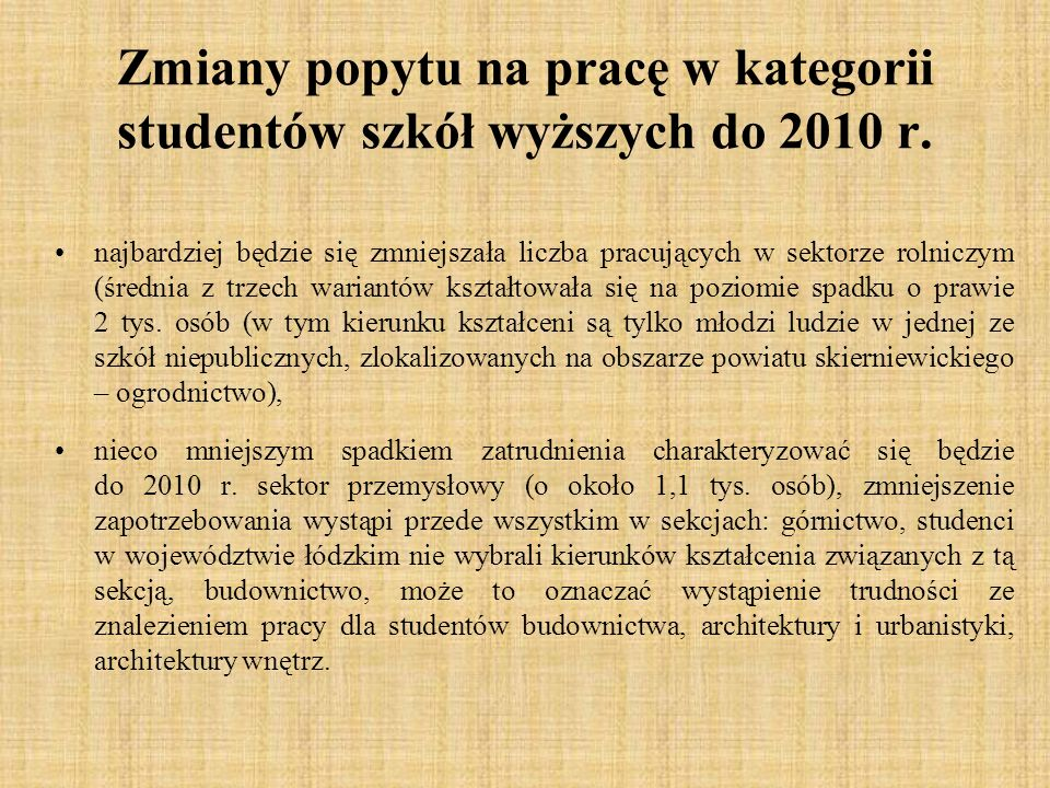 Zmiany popytu na pracę w kategorii studentów szkół wyższych do 2010 r.