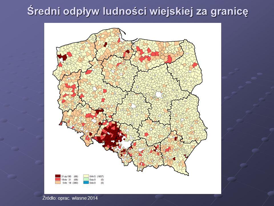 Średni odpływ ludności wiejskiej za granicę wg gmin w latach 2004-2011