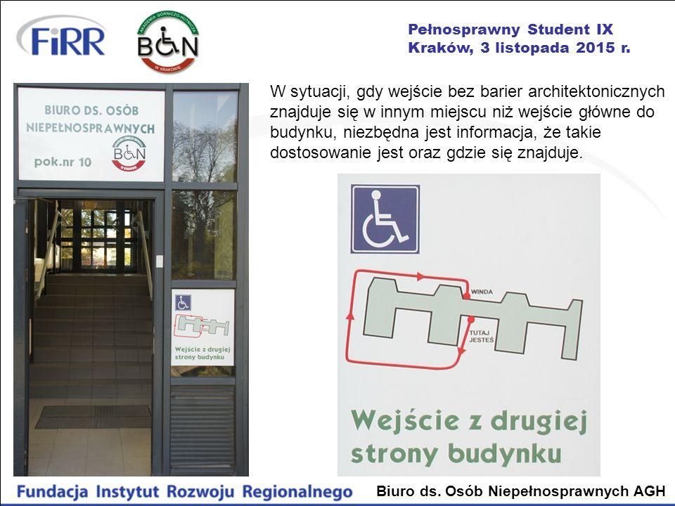 W sytuacji, gdy wejście bez barier architektonicznych znajduje się w innym miejscu niż wejście główne do budynku, niezbędna jest informacja, że takie dostosowanie jest oraz gdzie się znajduje.