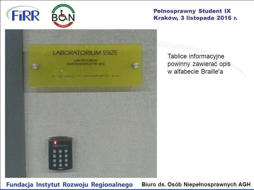Tablice informacyjne powinny zawierać opis w alfabecie Braille a