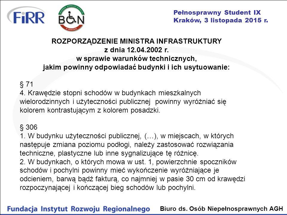 ROZPORZĄDZENIE MINISTRA INFRASTRUKTURY z dnia 12.04.2002 r.
