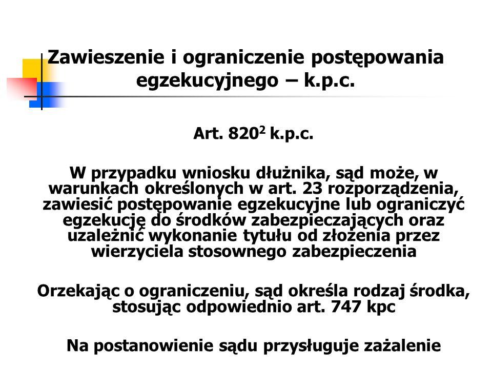Zawieszenie i ograniczenie postępowania egzekucyjnego – k.p.c.