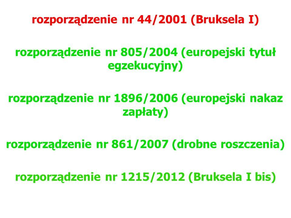 rozporządzenie nr 44/2001 (Bruksela I) rozporządzenie nr 805/2004 (europejski tytuł egzekucyjny) rozporządzenie nr 1896/2006 (europejski nakaz zapłaty) rozporządzenie nr 861/2007 (drobne roszczenia) rozporządzenie nr 1215/2012 (Bruksela I bis)