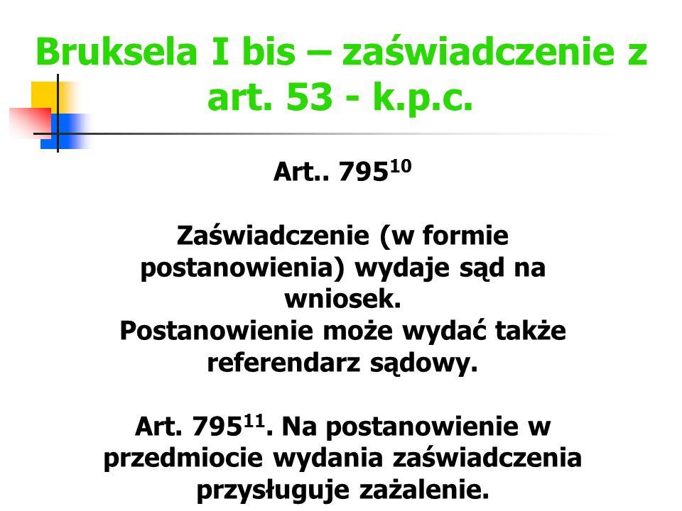 Bruksela I bis – zaświadczenie z art. 53 - k.p.c.