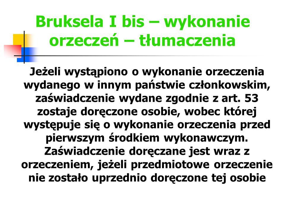 Bruksela I bis – wykonanie orzeczeń – tłumaczenia