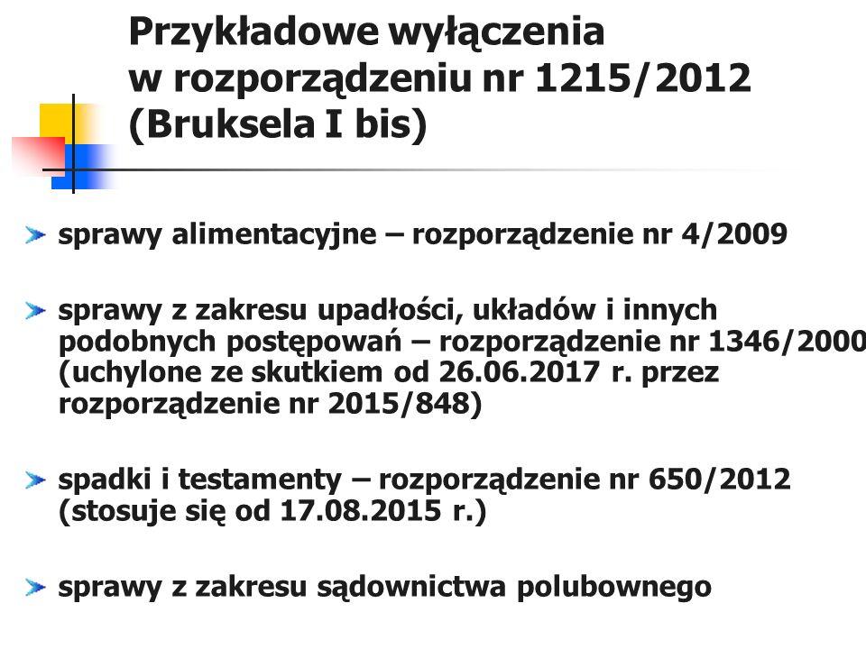 Przykładowe wyłączenia w rozporządzeniu nr 1215/2012 (Bruksela I bis)