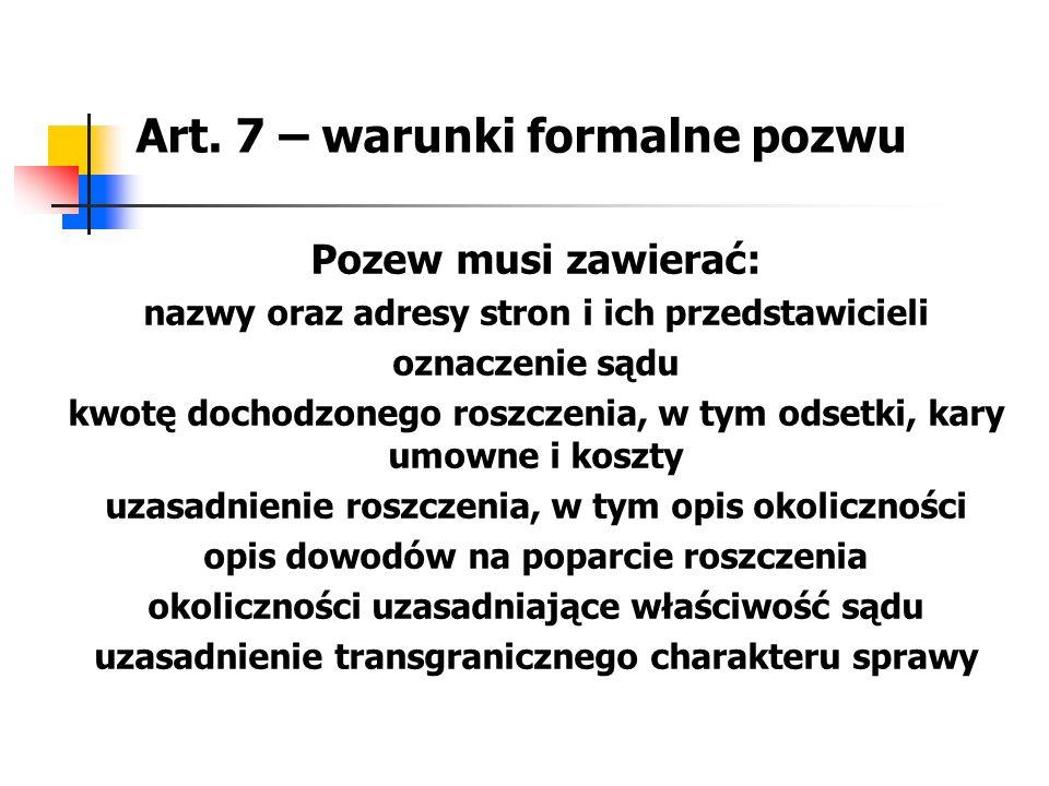 Art. 7 – warunki formalne pozwu