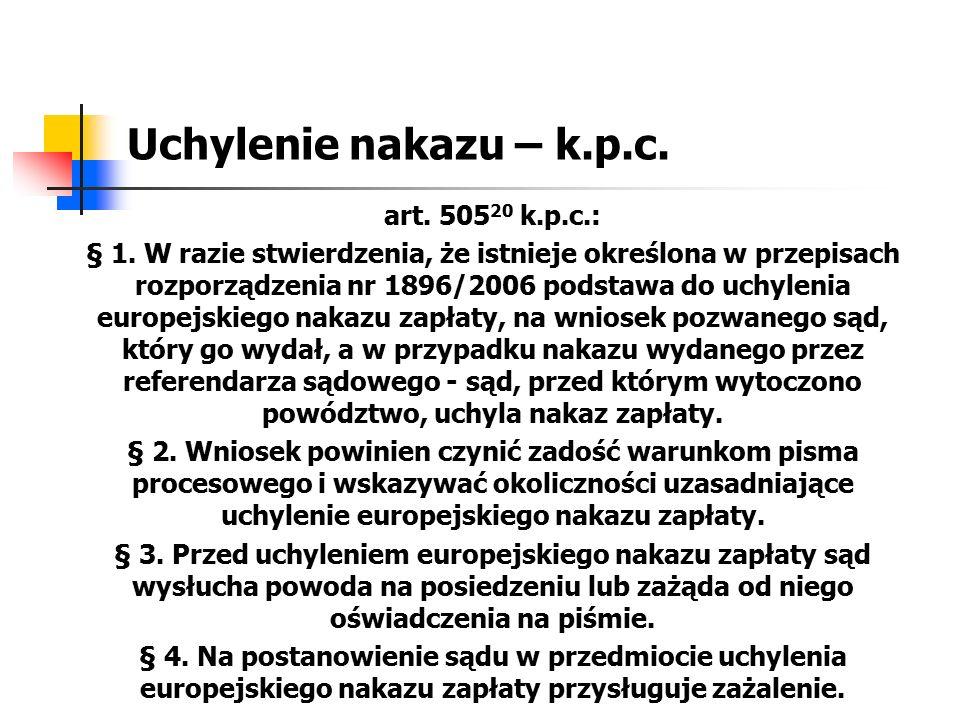 Uchylenie nakazu – k.p.c. art. 50520 k.p.c.:
