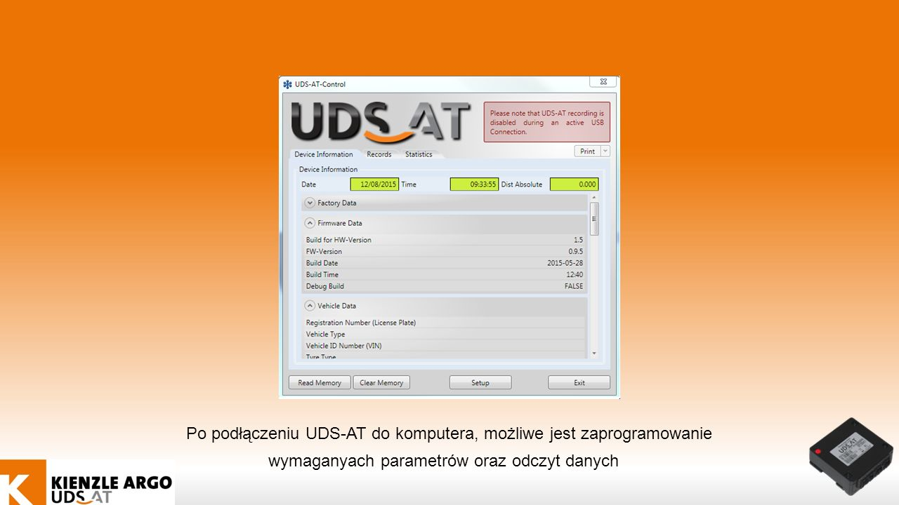 Po podłączeniu UDS-AT do komputera, możliwe jest zaprogramowanie