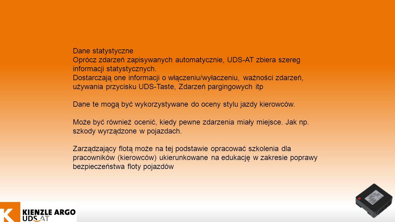 Dane statystyczne Oprócz zdarzeń zapisywanych automatycznie, UDS-AT zbiera szereg informacji statystycznych.
