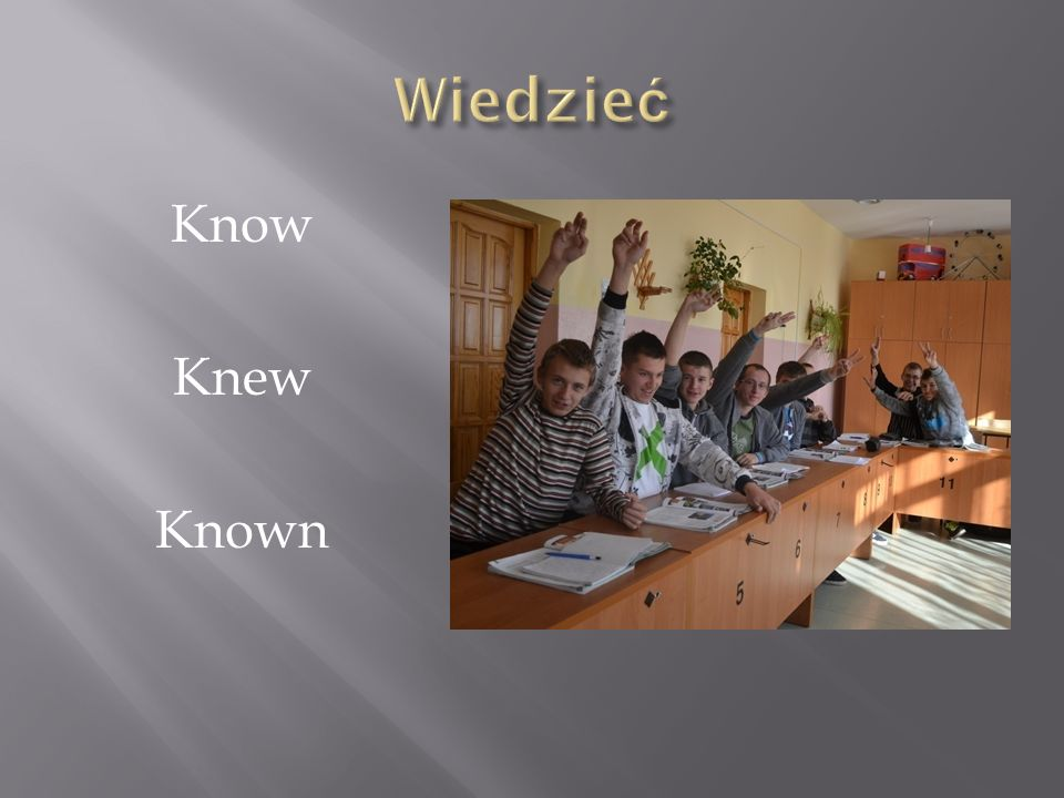 Wiedzieć Know Knew Known
