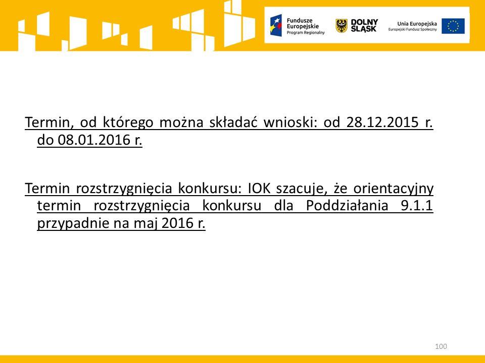 Termin, od którego można składać wnioski: od 28. 12. 2015 r. do 08. 01