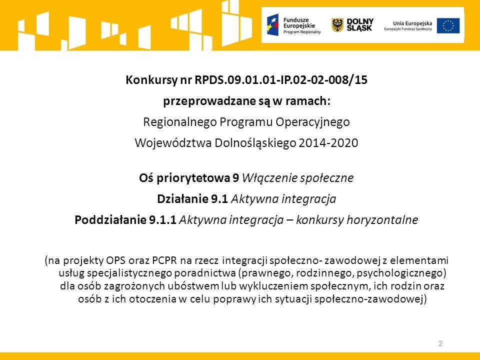 Konkursy nr RPDS.09.01.01-IP.02-02-008/15 przeprowadzane są w ramach: