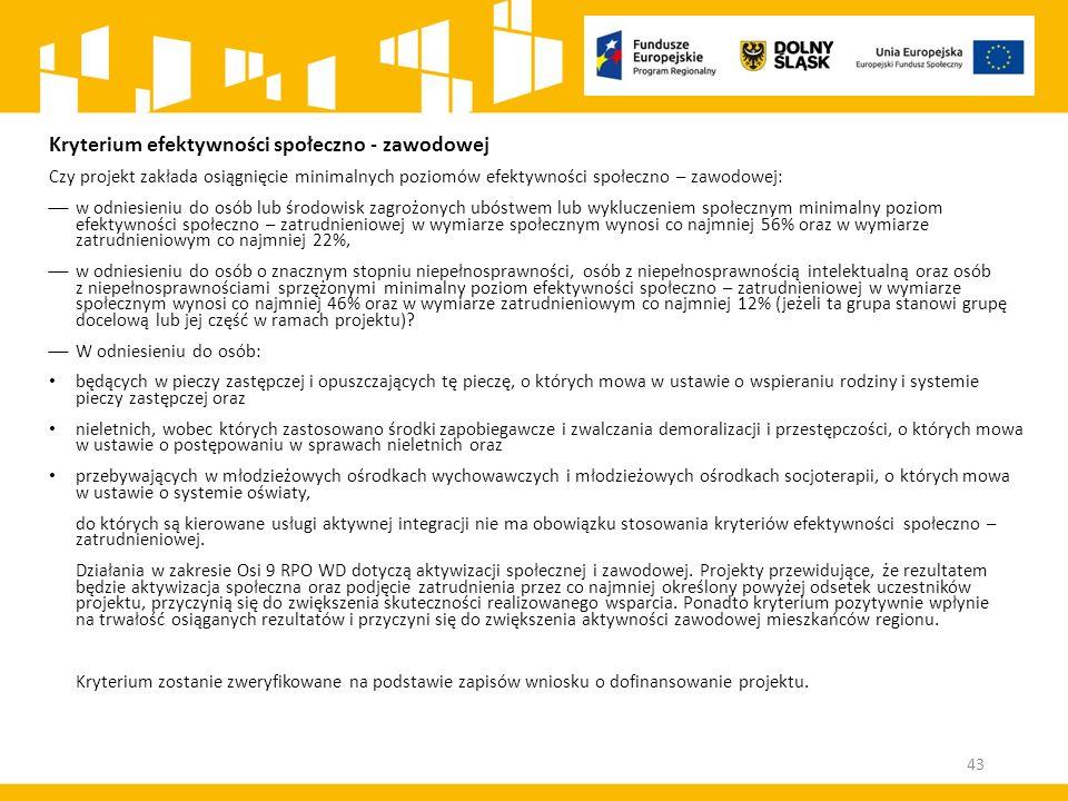 Kryterium efektywności społeczno - zawodowej