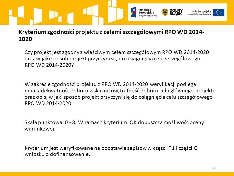 Kryterium zgodności projektu z celami szczegółowymi RPO WD 2014-2020