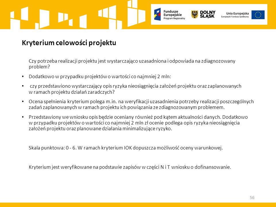 Kryterium celowości projektu