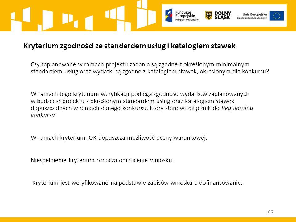 Kryterium zgodności ze standardem usług i katalogiem stawek