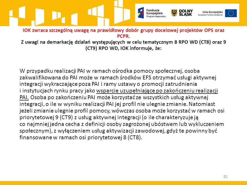 IOK zwraca szczególną uwagę na prawidłowy dobór grupy docelowej projektów OPS oraz PCPR. Z uwagi na demarkację działań występujących w celu tematycznym 8 RPO WD (CT8) oraz 9 (CT9) RPO WD, IOK informuje, że: