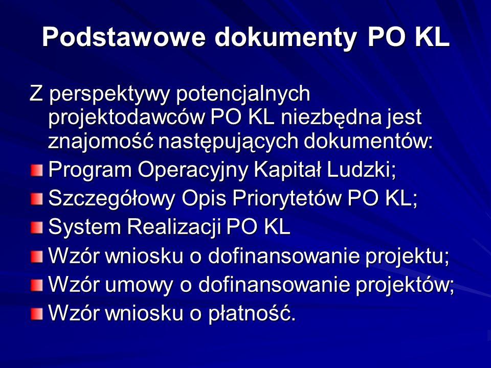 Podstawowe dokumenty PO KL