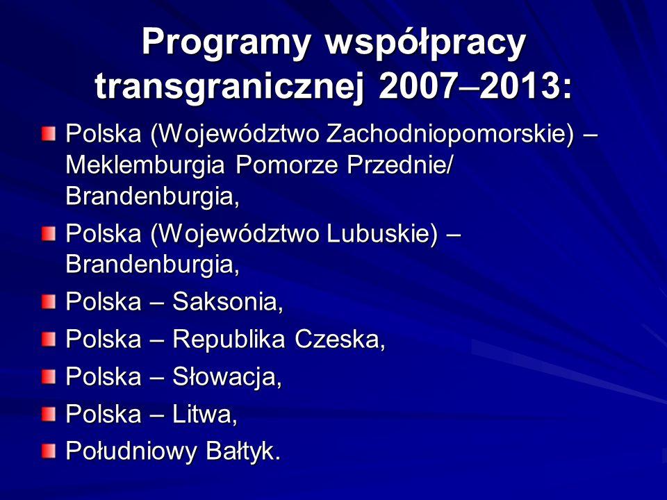 Programy współpracy transgranicznej 2007–2013: