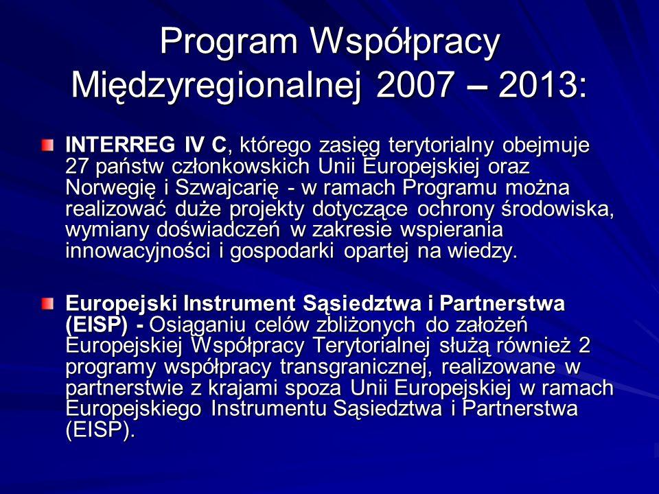 Program Współpracy Międzyregionalnej 2007 – 2013: