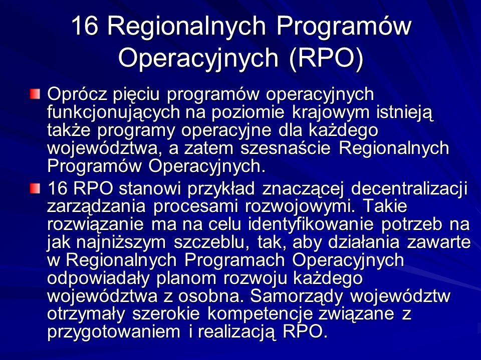 16 Regionalnych Programów Operacyjnych (RPO)