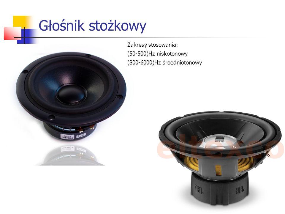Głośnik stożkowy Zakresy stosowania: (50-500)Hz niskotonowy