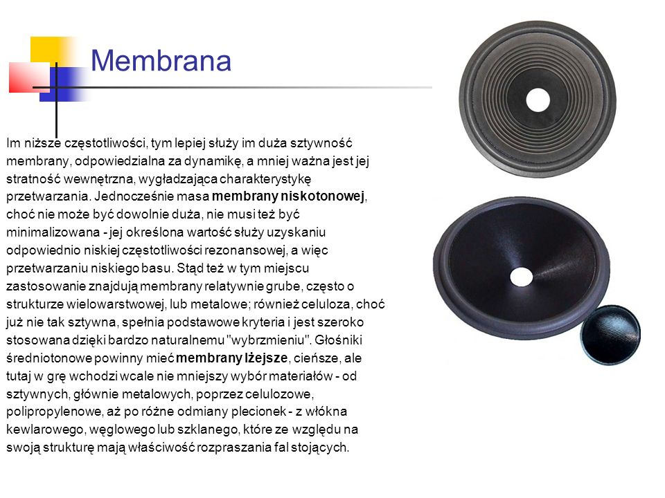 Membrana Im niższe częstotliwości, tym lepiej służy im duża sztywność