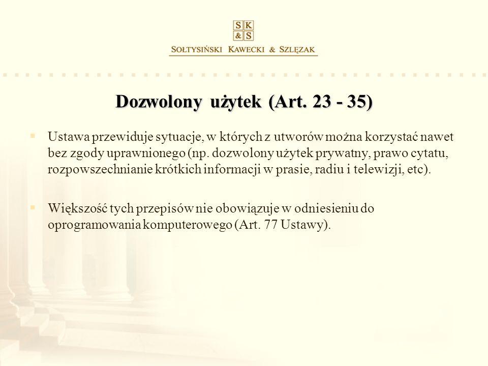 Dozwolony użytek (Art. 23 - 35)