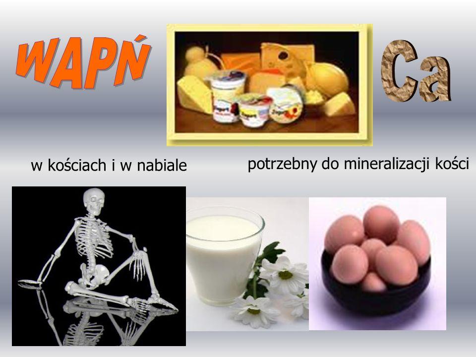 WAPŃ Ca w kościach i w nabiale potrzebny do mineralizacji kości