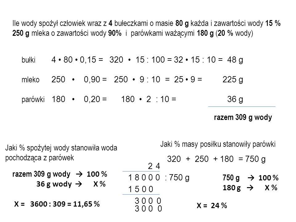 Ile wody spożył człowiek wraz z 4 bułeczkami o masie 80 g każda i zawartości wody 15 %