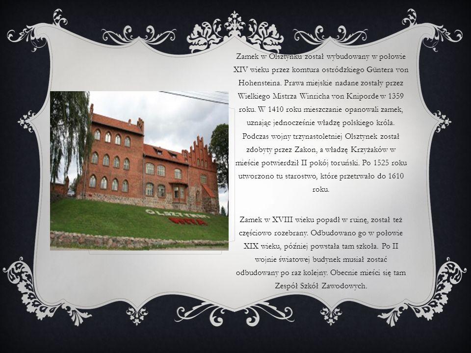 Zamek w Olsztynku został wybudowany w połowie XIV wieku przez komtura ostródzkiego Güntera von Hohensteina. Prawa miejskie nadane zostały przez Wielkiego Mistrza Winricha von Kniporde w 1359 roku. W 1410 roku mieszczanie opanowali zamek, uznając jednocześnie władzę polskiego króla. Podczas wojny trzynastoletniej Olsztynek został zdobyty przez Zakon, a władzę Krzyżaków w mieście potwierdził II pokój toruński. Po 1525 roku utworzono tu starostwo, które przetrwało do 1610 roku.