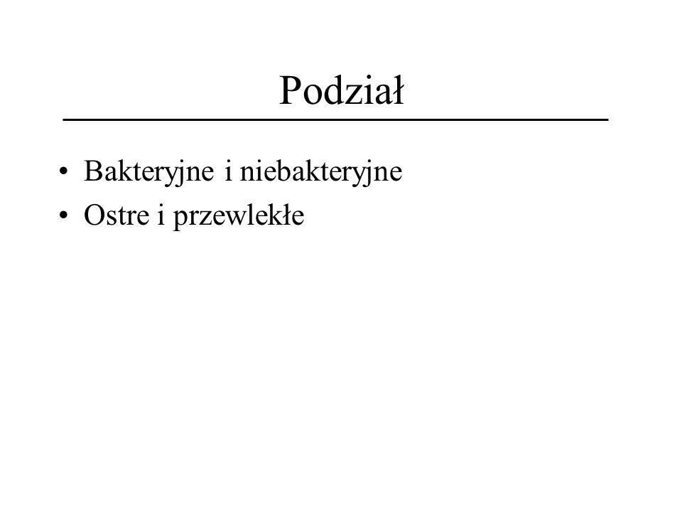 Podział Bakteryjne i niebakteryjne Ostre i przewlekłe