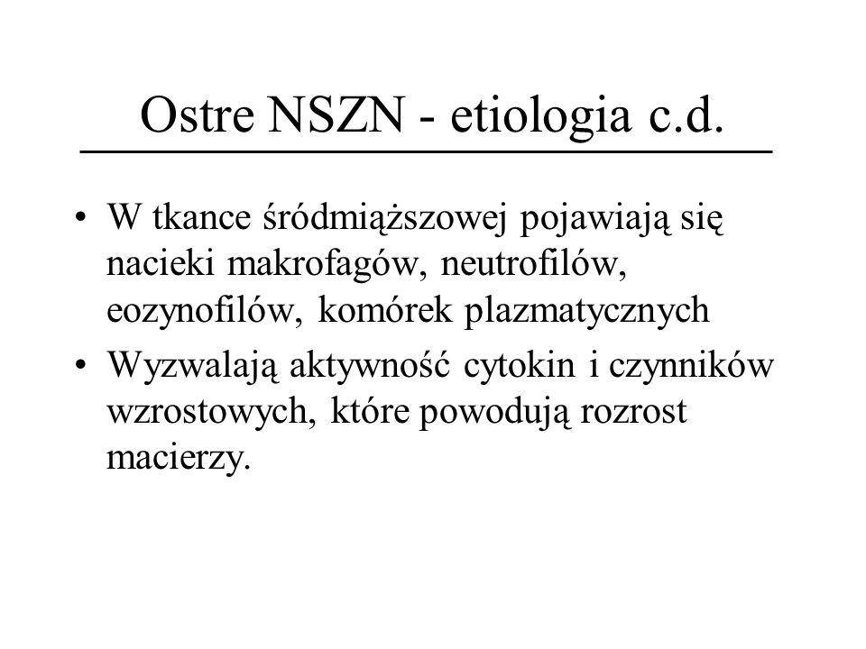Ostre NSZN - etiologia c.d.
