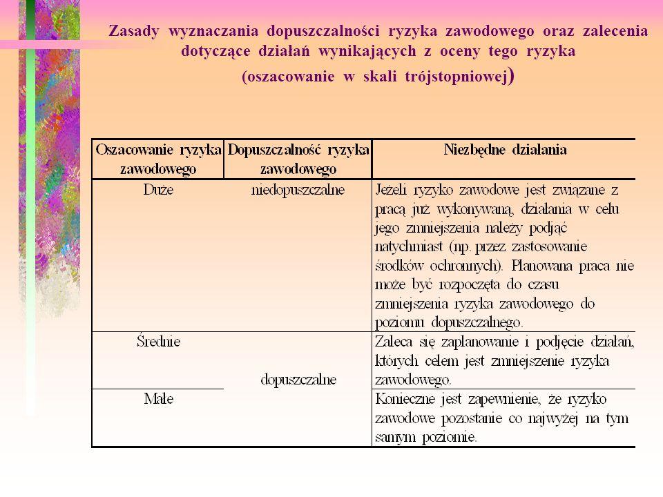 Zasady wyznaczania dopuszczalności ryzyka zawodowego oraz zalecenia dotyczące działań wynikających z oceny tego ryzyka (oszacowanie w skali trójstopniowej)