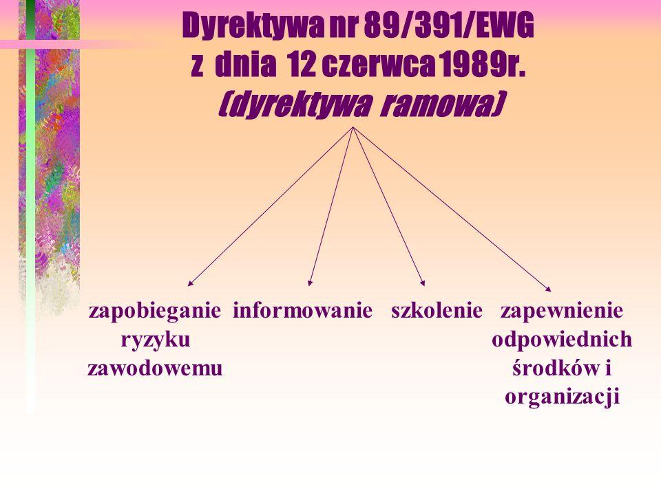 Dyrektywa nr 89/391/EWG z dnia 12 czerwca 1989r. (dyrektywa ramowa)