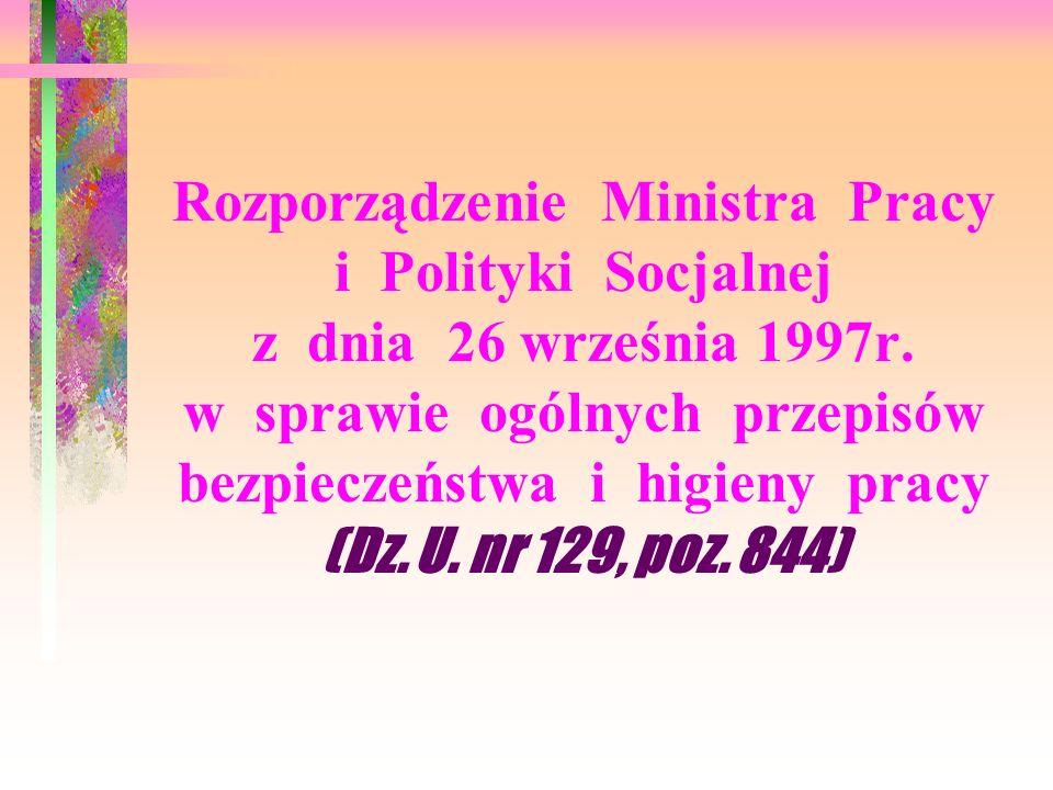 Rozporządzenie Ministra Pracy i Polityki Socjalnej z dnia 26 września 1997r.