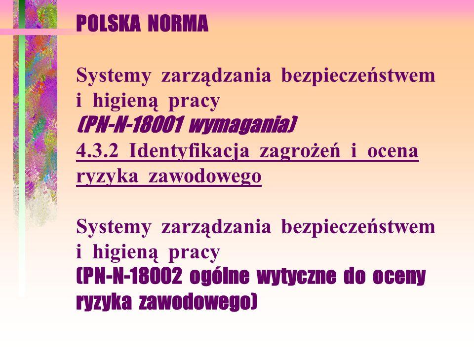 POLSKA NORMA Systemy zarządzania bezpieczeństwem i higieną pracy (PN-N-18001 wymagania) 4.3.2 Identyfikacja zagrożeń i ocena ryzyka zawodowego Systemy zarządzania bezpieczeństwem i higieną pracy (PN-N-18002 ogólne wytyczne do oceny ryzyka zawodowego)