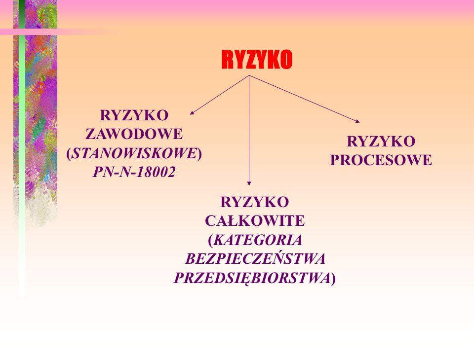 RYZYKO RYZYKO ZAWODOWE (STANOWISKOWE)PN-N-18002 RYZYKO PROCESOWE