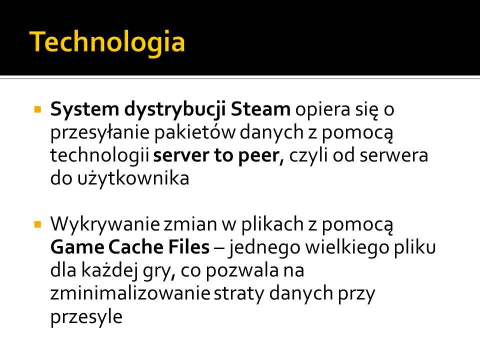 Technologia System dystrybucji Steam opiera się o przesyłanie pakietów danych z pomocą technologii server to peer, czyli od serwera do użytkownika.