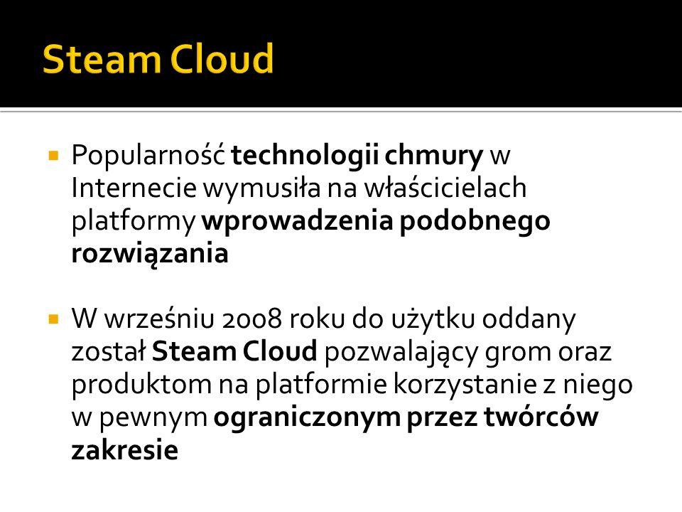 Steam Cloud Popularność technologii chmury w Internecie wymusiła na właścicielach platformy wprowadzenia podobnego rozwiązania.