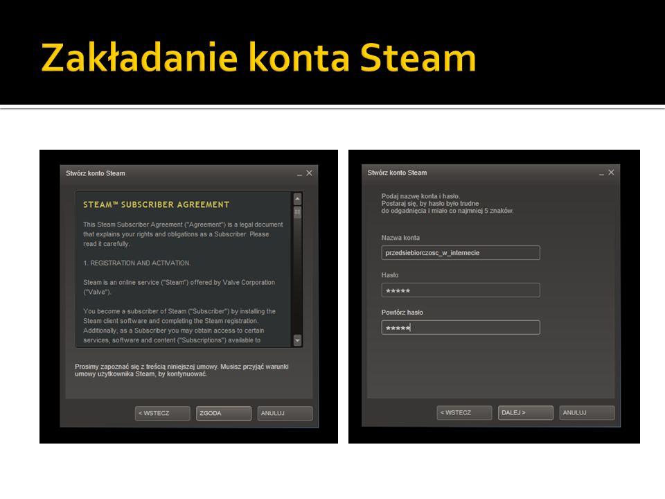 Zakładanie konta Steam