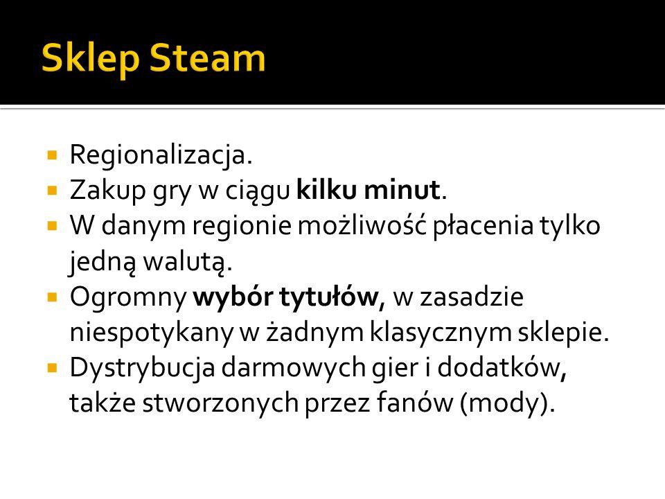Sklep Steam Regionalizacja. Zakup gry w ciągu kilku minut.