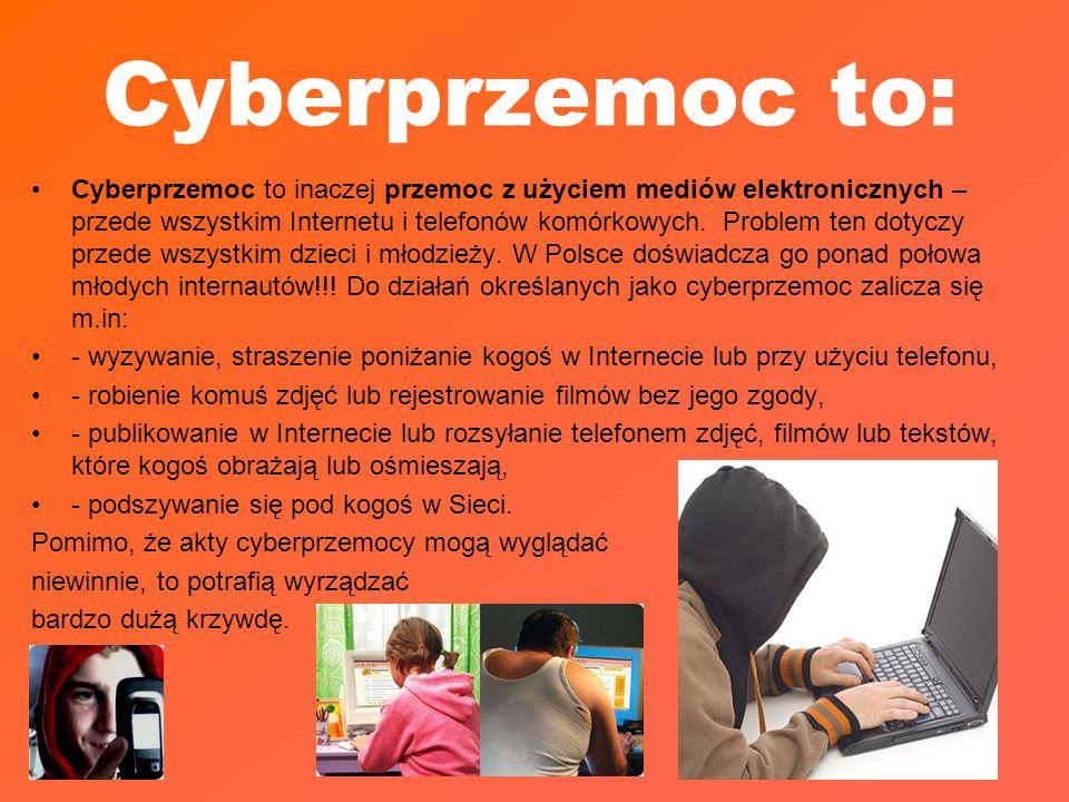 Cyberprzemoc to: