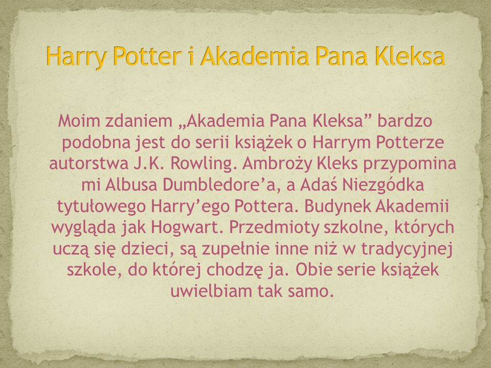 Harry Potter i Akademia Pana Kleksa