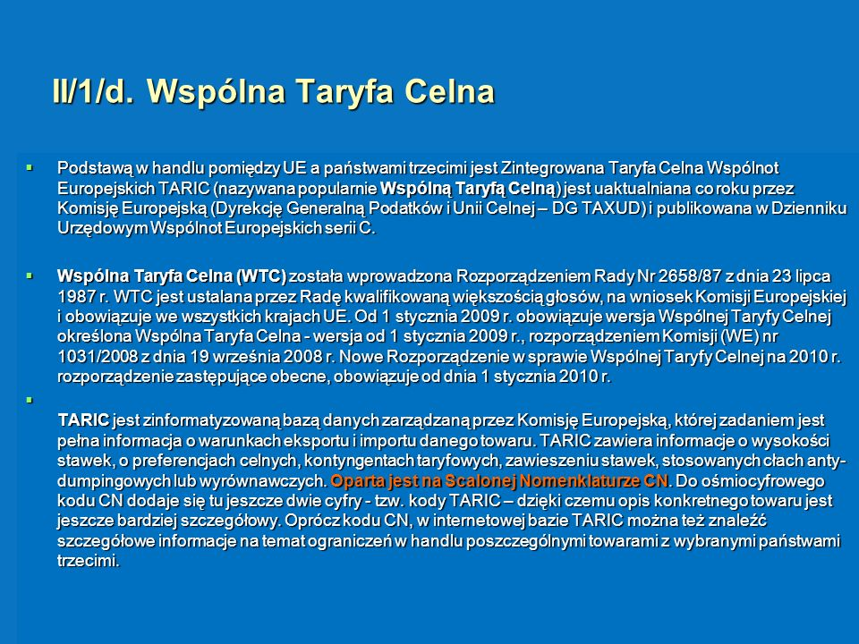 II/1/d. Wspólna Taryfa Celna
